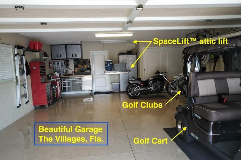 SpaceLift The Villages you know it's The Villages Florida by the golf cart and golf clubs, also showing SpaceLift storage lift installation